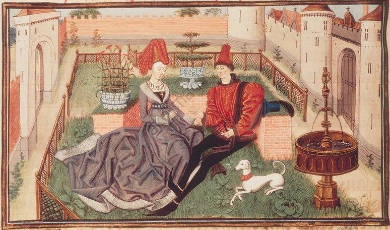 2-L44-H1-1462-7 (152837) 'Regnault de Montauban' Literatur / Sagen: Haimonskinder (Reinold von Montalban). - Maugis und Orlande im Garten. - Buchmalerei, Br¸gge, um 1462/70, von Loyset Liedet (gest.1478). Aus der Prosabearbeitung 'Regnault de Montauban' von David Aubert in vier B‰nde. Ms. Arsenal 5072, fol. 71 v, Paris, BibliothËque de l'Arsenal. E: David Aubert/Maugis a. Orlande/c.1462/70 Aubert, David born c.1435. 'Maugis and Orlande in the garden'. Book illustration, Bruges, c.1462/70. Illustration for 'Roman de Renaud de Montauban'. Ms.Arsenal 5072 fol.71 v, Paris, BibliothËque de l'Arsenal.