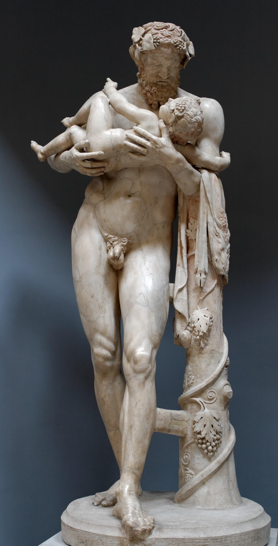 Silène portant Dionysos enfant, copie romaine d'un original du second classicisme. Museo Chiaramonti, Braccio Nuovo. Musées du Vatican.