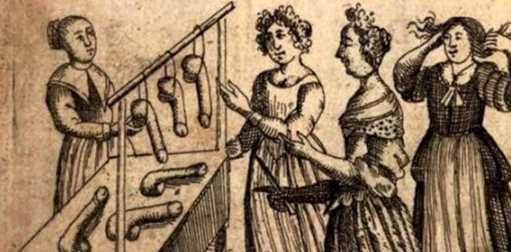 Gravure tirée de L'École des filles – ou la philosophie des dames, premier ouvrage libertin d'auteur inconnu, parût en 1655. © Slate