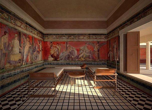Reconstitution d'un triclinium dans la Villa des Mystères à Pompéi © James Stanton-Abbott