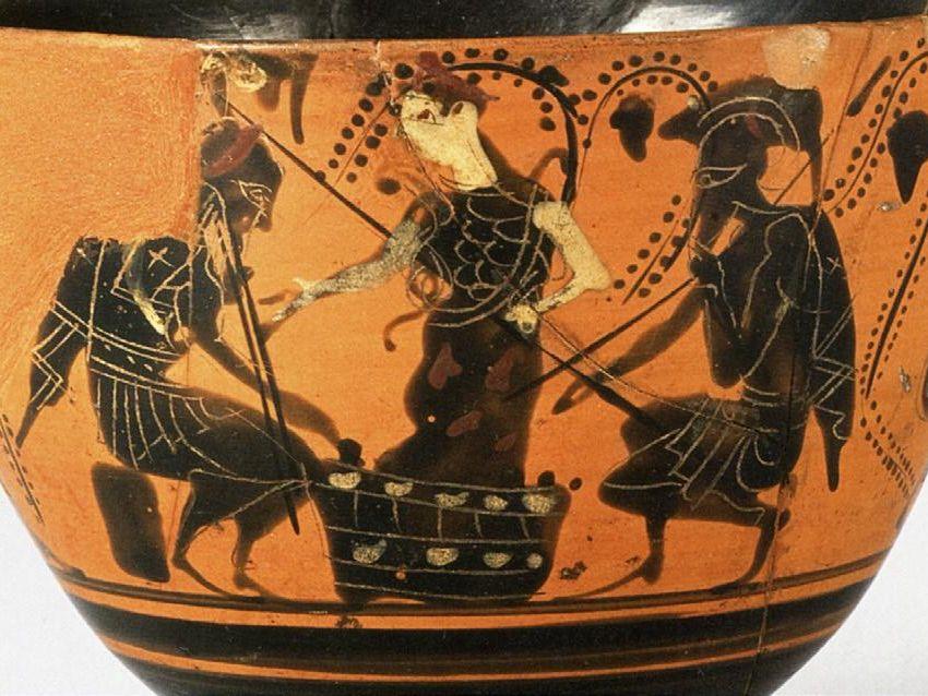 Achille et Ajax jouant Kyathos attique (H. 14,7 cm), vers 500 av. J.-C. Bruxelles, Musées Royaux d'Art et d'Histoire © Musées Royaux d'Art et d'Histoire, Bruxelles