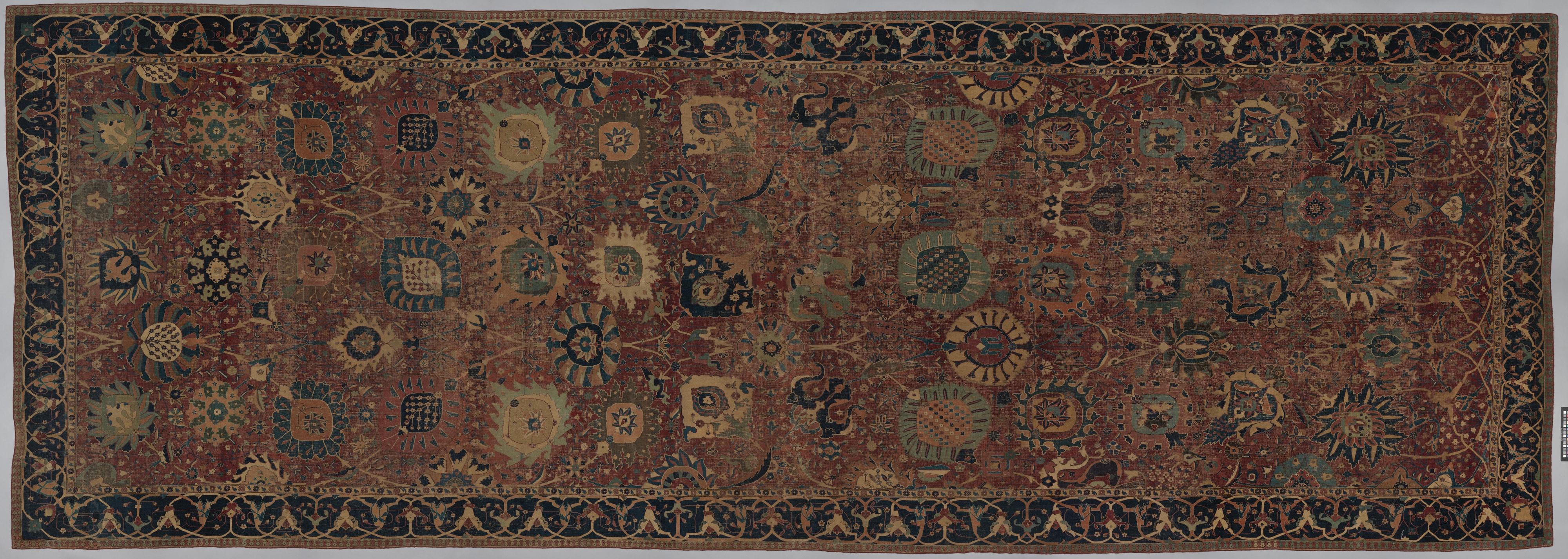 Tapis vase, Iran, fin XVIe - début XVIIe siècle. Soie, laine et nouage asymétrique © MET Museum.