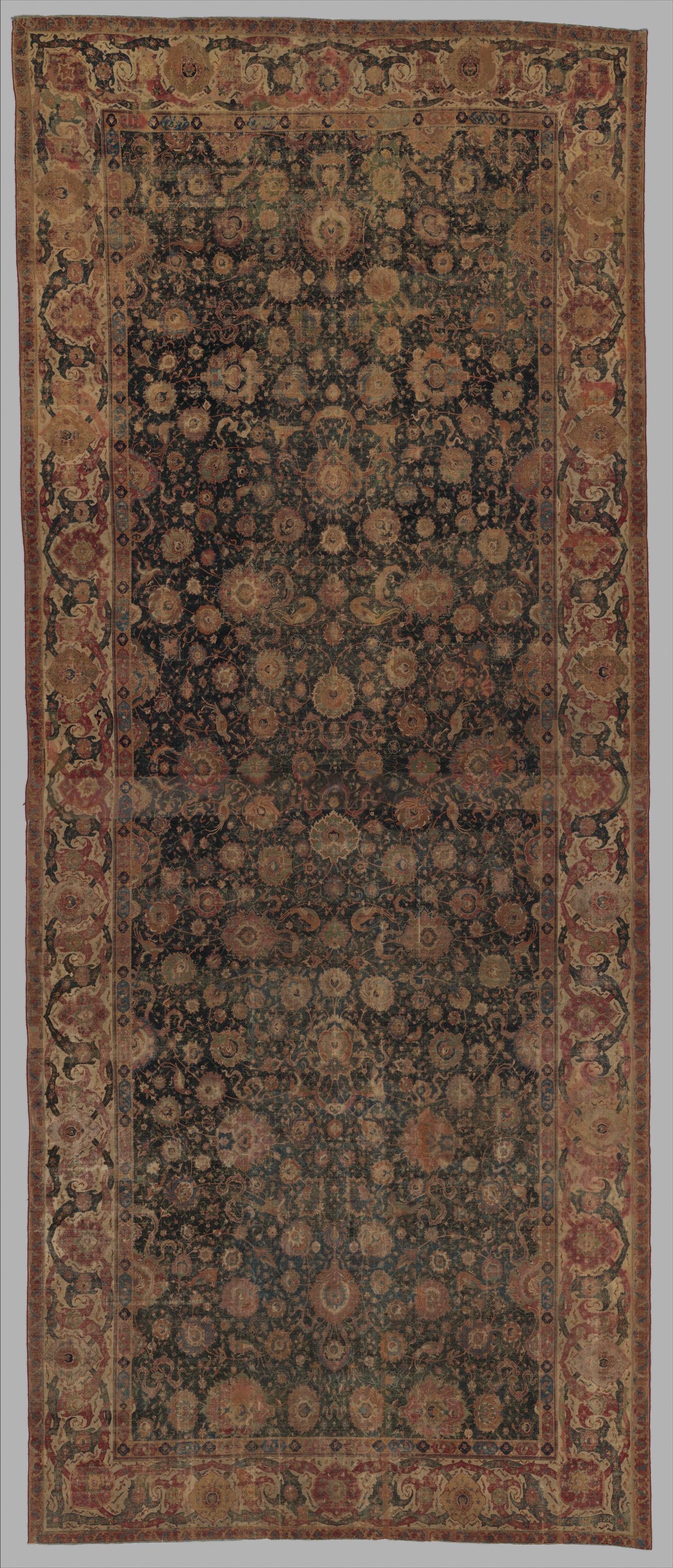 Tapis persan, Iran, XVIIe siècle. Soie, laine et nouage asymétrique © MET Museum