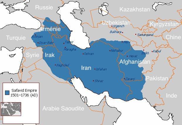 Carte du Moyen-Orient. L'empire safavide en bleu.