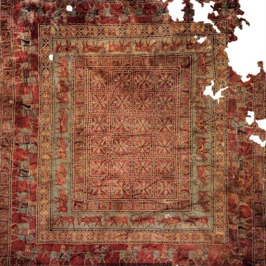 Le tapis Pazyryk, le plus vieux tapis jamais découvert et daté d'environ 2500 ans © Musée de l'Ermitage