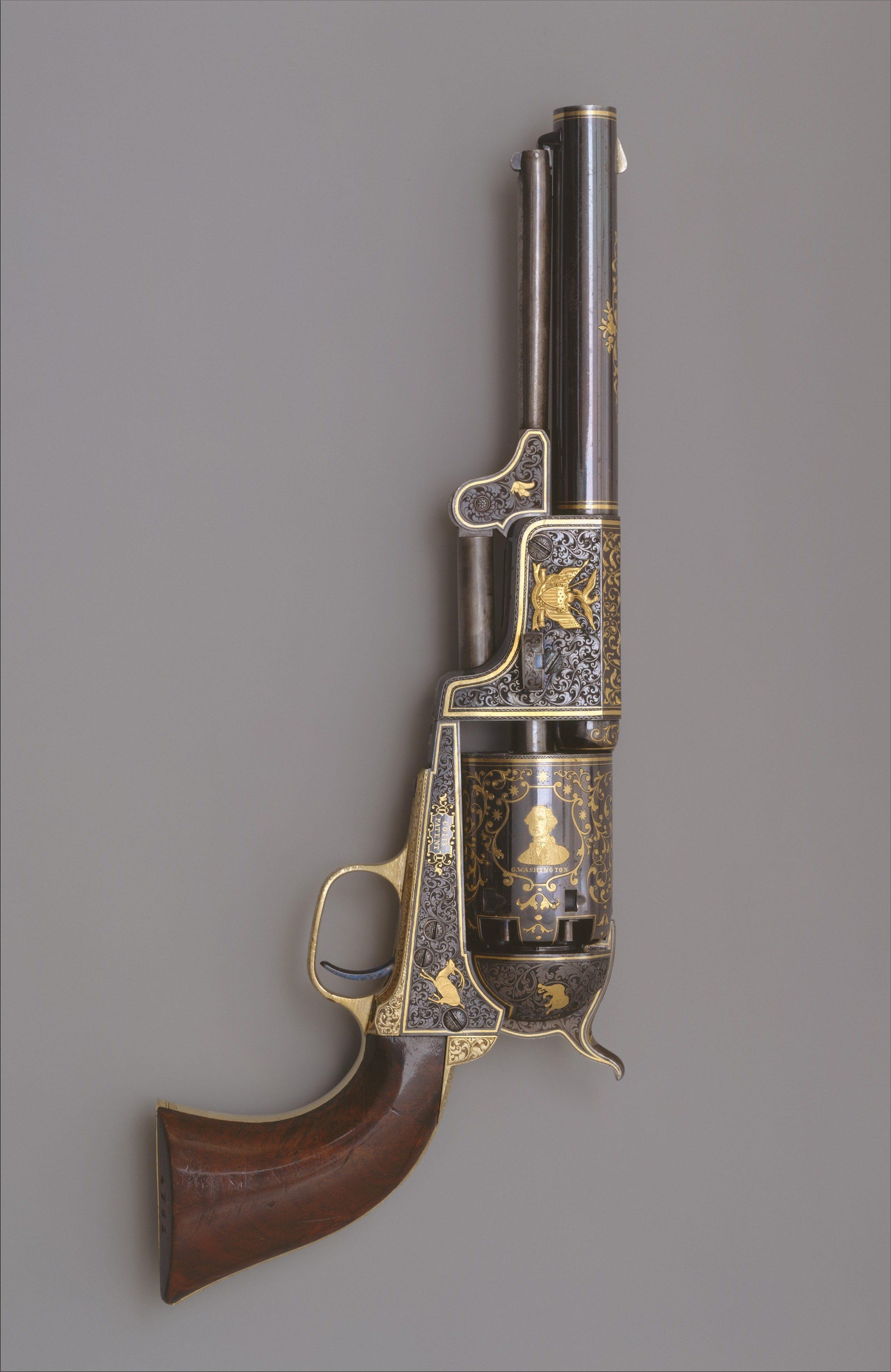 Revolver Colt, 3e modèle Dragoon, circa 1853. Acier, laiton, or et bois. Revolver offert par Colt au tsar Nicolas Ier de Russie en 1854 et qui se trouve maintenant au Musée de l'Ermitage de Saint-Pétersbourg © MET Museum