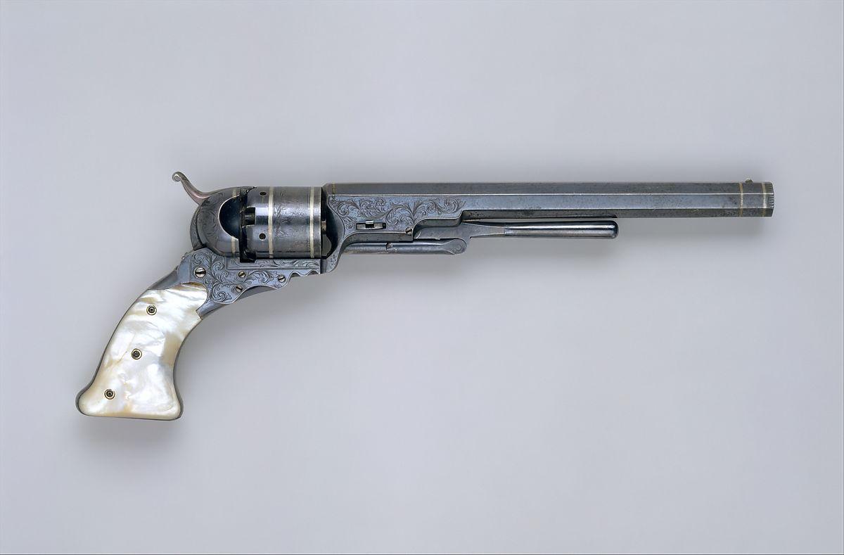 Revolver Colt Paterson, n°5 modèle Holster, circa 1840. Acier, argent et nacre © MET Museum