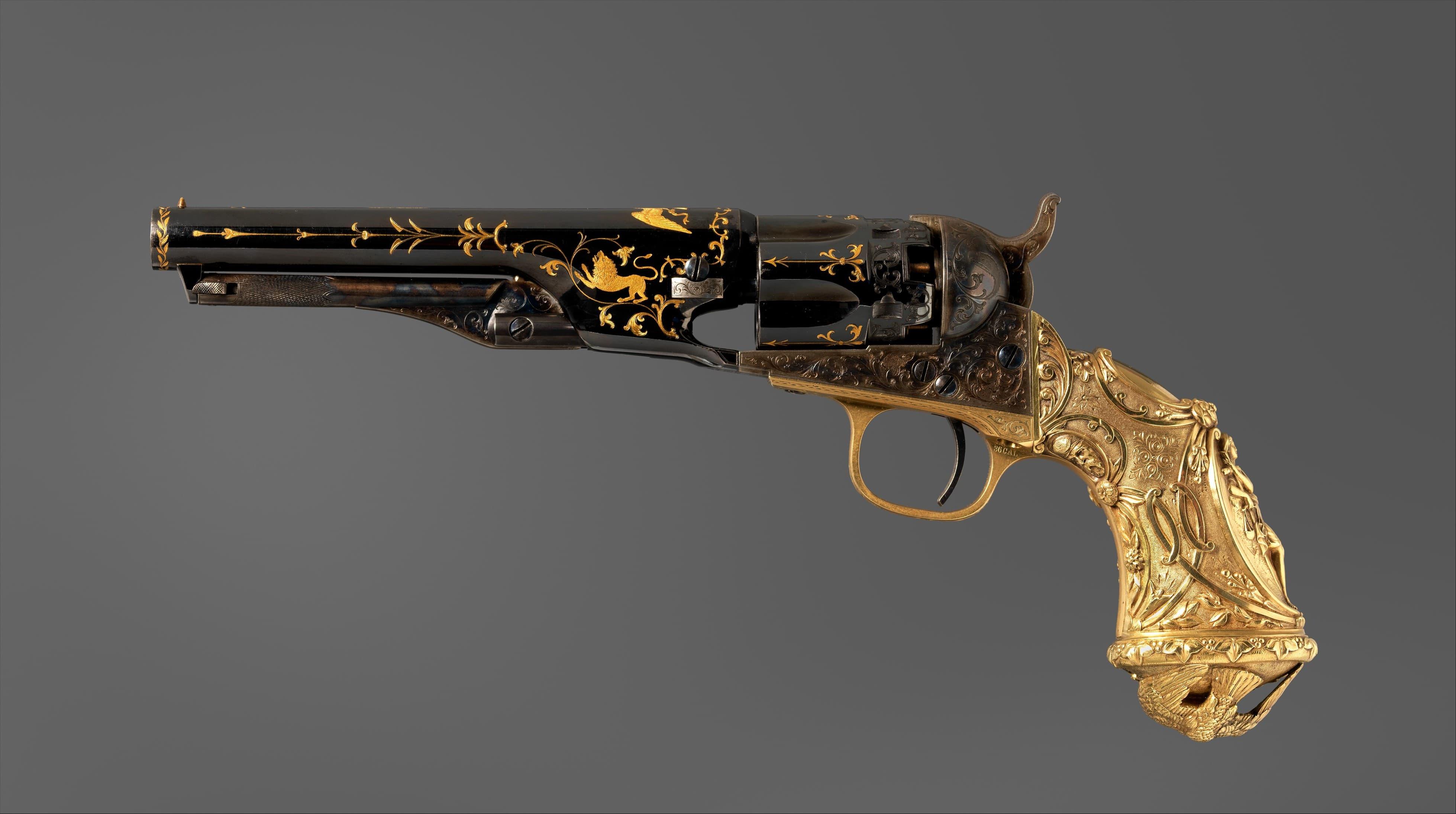 Revolver Colt, modèle Police 1862, circa 1868. Acier, or et laiton. © MET Museum