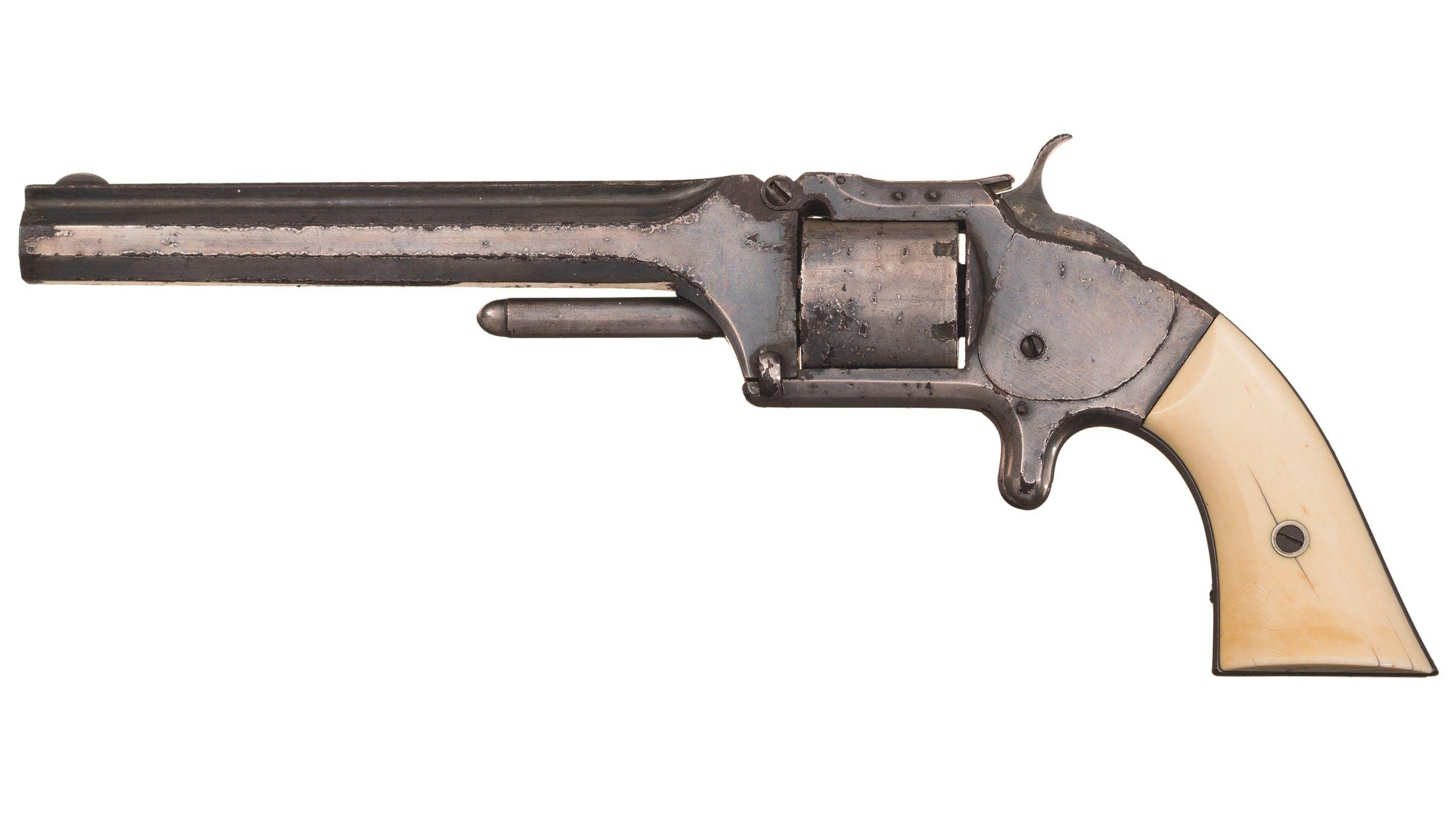 Revolver Smith & Wesson Model 2, 1861. Crosse en ivoire © Rock Island Auction