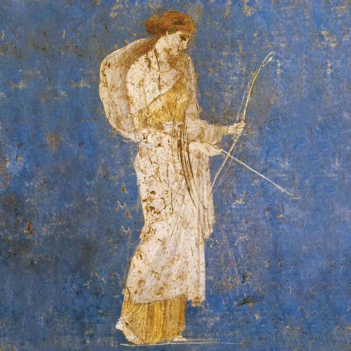 fresque-diane-artemis-chasseresse-mythologie-pompei