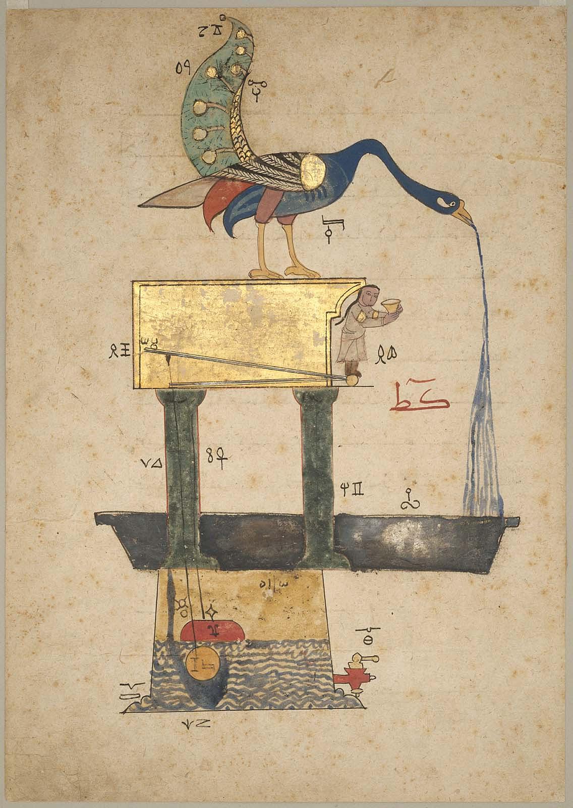 al-jazari-paon-fontaine-bassin-automate