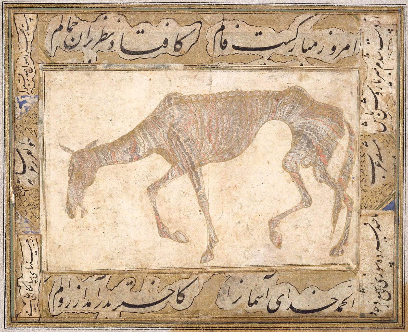 Papier marbré abri figurant un cheval émacié. Inde, Deccan. Milieu du XVIIe siècle, dynastie Adil Shahi ou Qutb Shahi © Museum of Fine Arts Boston