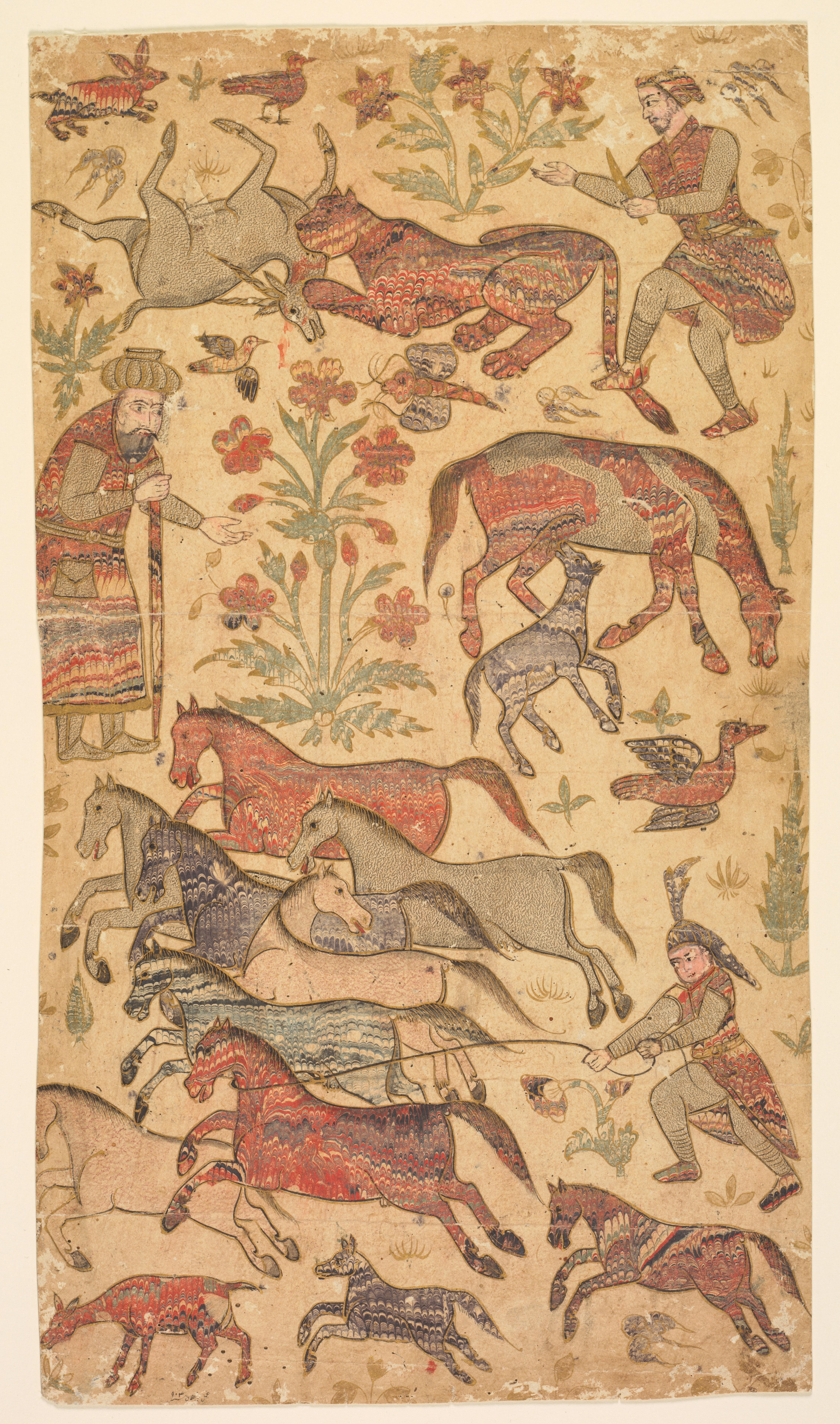 Papier marbré illustrant Rustam capturant Rakhsh. Aquarelle opaque et or sur papier. Attribué à Shafi. Inde, circa 1650 © The Cleveland Museum of Art